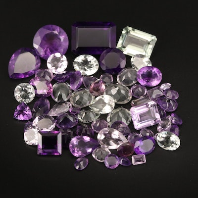 Loose 161.27 CTW Faceted Amethysts and Prasiolites
