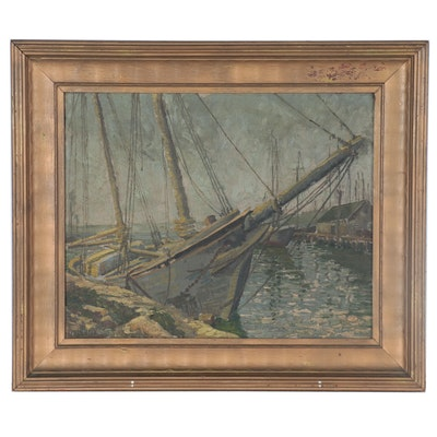 "Nautical Oil Painting ""The Old Wreck,"" Early 20th Century"