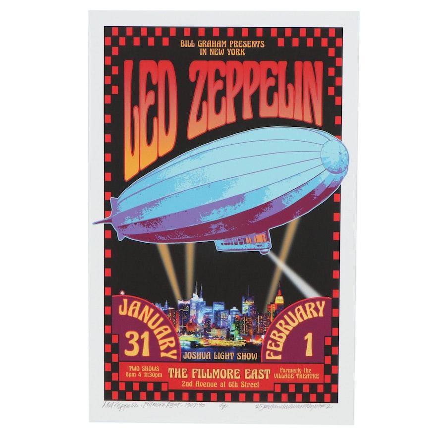 "David Edward Byrd Giclée ""Led Zeppelin - Fillmore Fast - 1969-70,"" 2021"