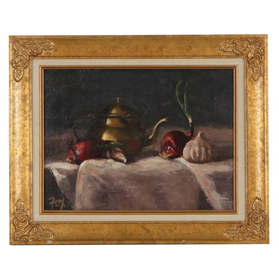 Still Life Oil Painting of Vegetables and Teapot, Late 20th Century