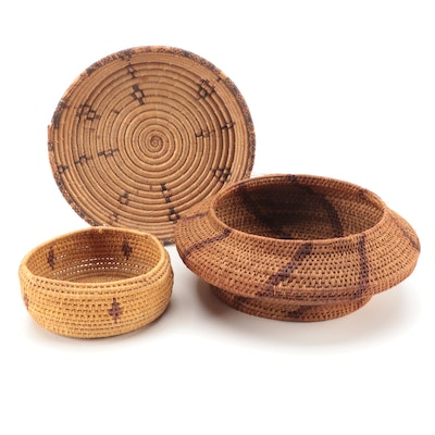 Indonesian and Other Hand-Woven Baskets with South African Coiled Platter