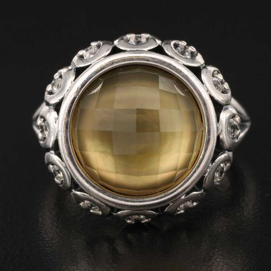 Ann King Sterling Quartz and Mother of Pearl Doublet Ring with Topaz Accents
