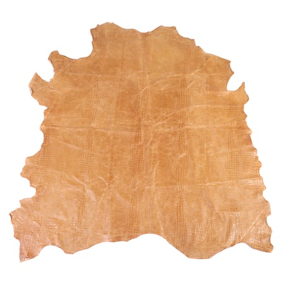 "7'2 x 7'7 Garrett Leather ""Caiman"" Embossed Cowhide Area Rug"