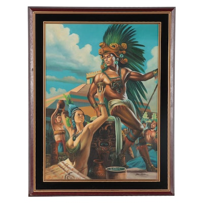 Acrylic Painting of Mesoamerican Ritual, 21st Century