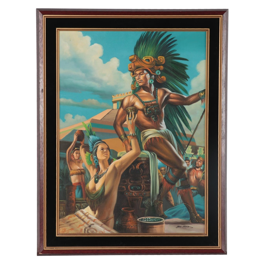 Acrylic Painting of Mesoamerican Ritual, 21st Century