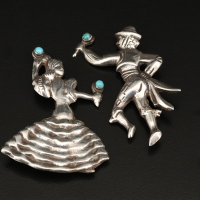 Mexican Sterling Silver Bolero Dancer Brooches