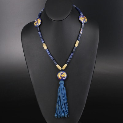 Sodalite, Calcite and Cloisonné Tassel Necklace with 14K Clasp