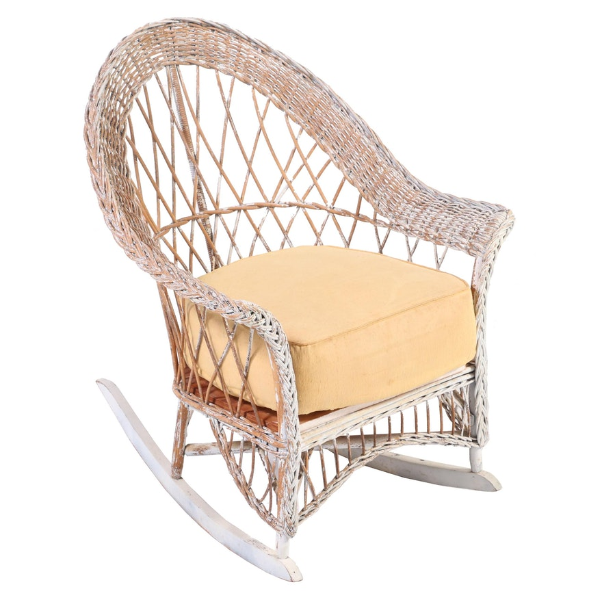 Painted Wicker Patio Rocking Chair, 1930s