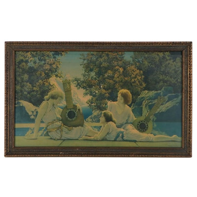 "Collotype after Maxfield Parrish ""Lute Players,"" Late 20th Century"