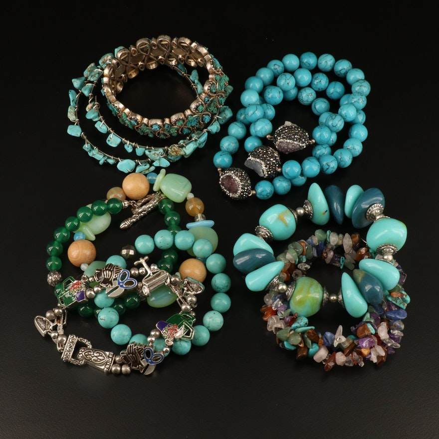 Bracelets Including Sterling, Amethyst, Chalcedony and Magnesite