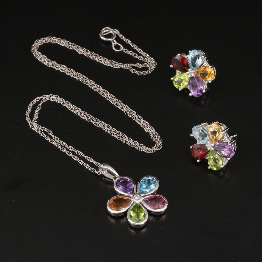 Sterling Diamond and Gemstone Earring and Necklace Set