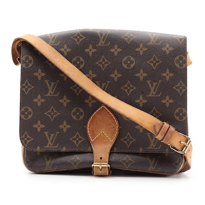 Louis Vuitton Cartouchiere GM Bag in Monogram Canvas and Vachetta Leather