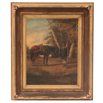 Oil Painting of Farmer with Horse, Late 19th Century