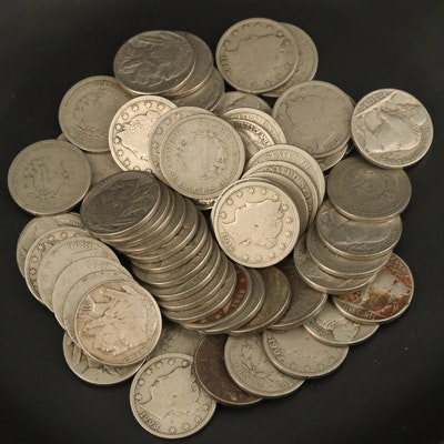 "62 Full-Date Liberty ""V"" and Buffalo Nickels, Late 19th to Early 20th Century"