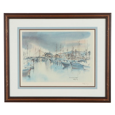 "Betty Guy Offset Lithograph ""Fisherman's Wharf"""