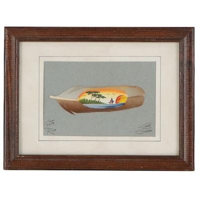 José Garro Acrylic Costa Rican Souvenir Painting on Feather