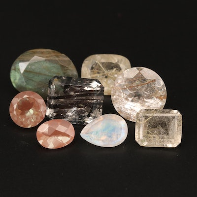 Loose Faceted Gemstones Including Labradorite and Rainbow Moonstone