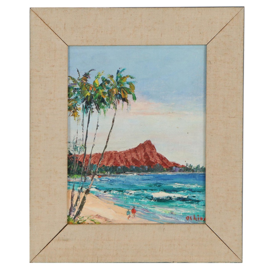 "Oshino Okuda Hawaiian Landscape Oil Painting ""Diamond Head,"" Late 20th Century"