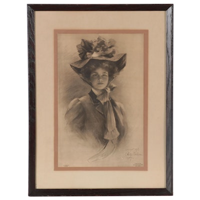 Offset Lithograph Illustration after Philip Boileau of Young Woman