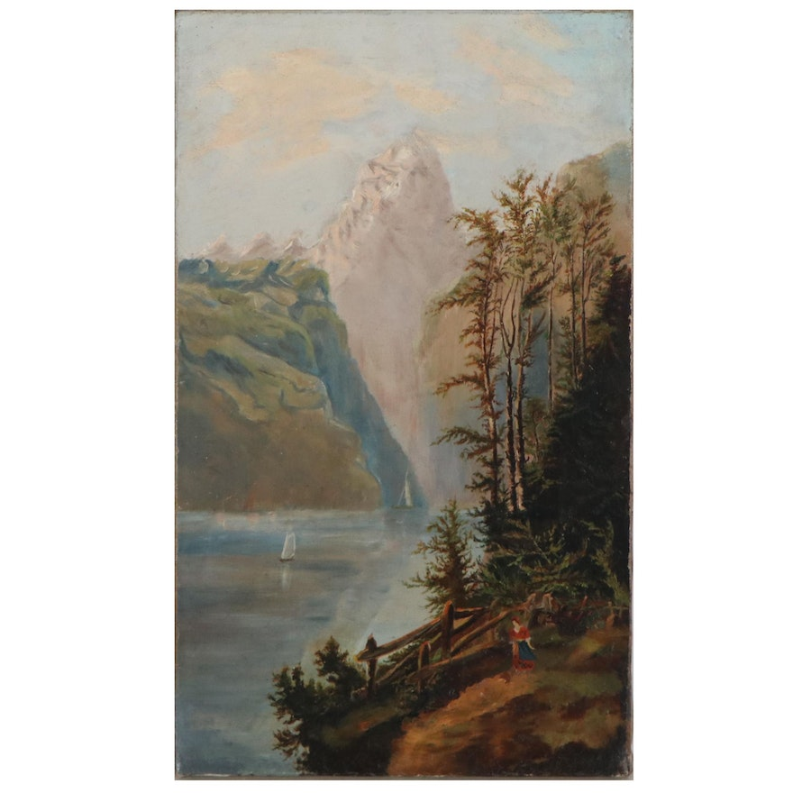 Landscape Oil Painting of Cliff-Side Mountainous View, Mid-20th Century