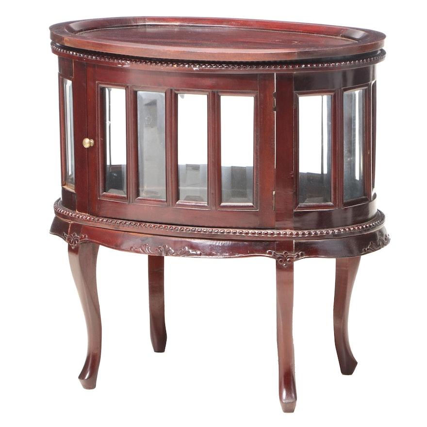 Louis XV Style Mahogany Tray-Top Vitrine Table