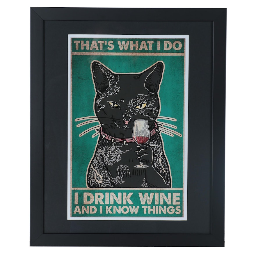Giclée of Black Cat with Tattoos, 21st Century