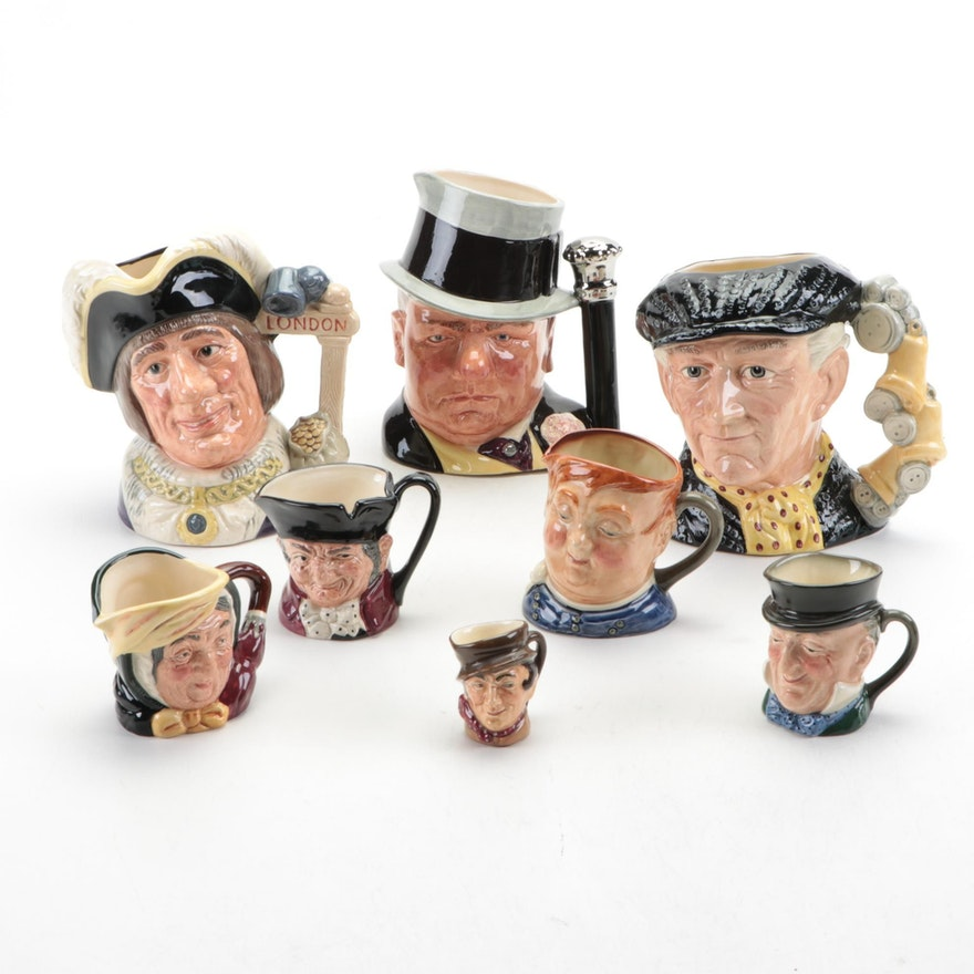 """Royal Doulton """"Pearly King"""" and Other Character Jugs, Mid to Late 20th Century"""