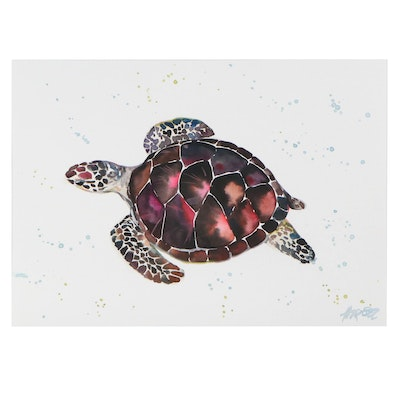 Anne Gorywine Watercolor Painting of Sea Turtle
