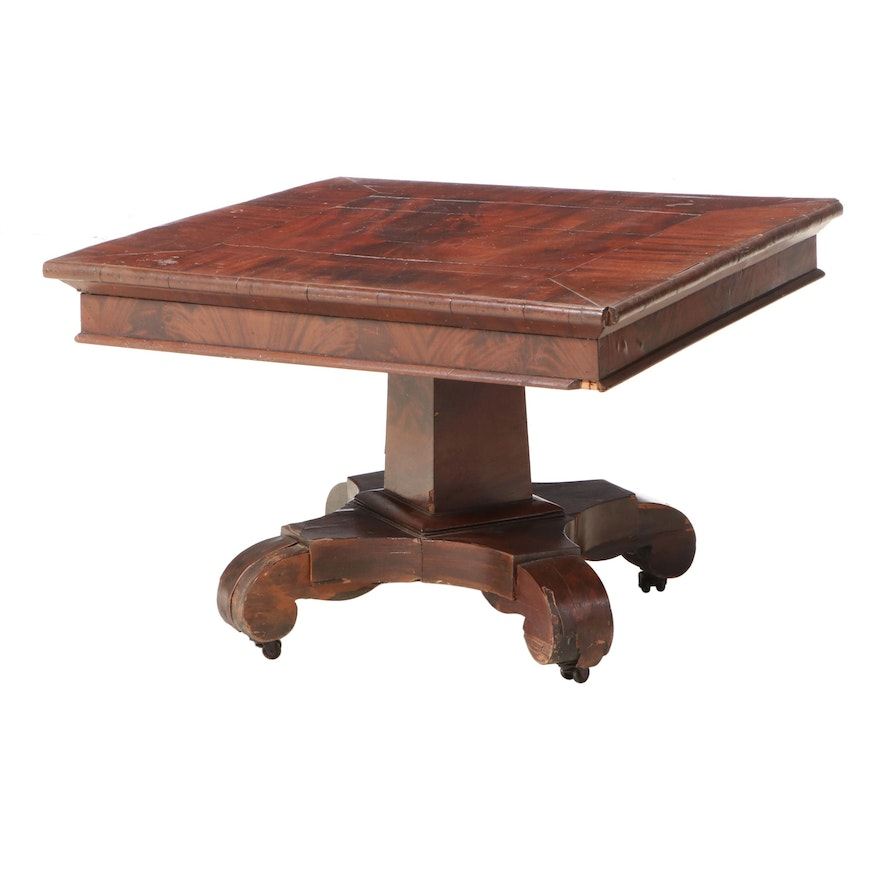 American Empire Flame Mahogany Coffee Table, Mid-19th Century and Adapted