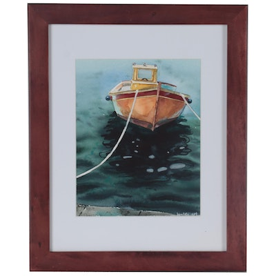 Yevgenia Snigur Watercolor Painting of Tethered Boat, 21st Century