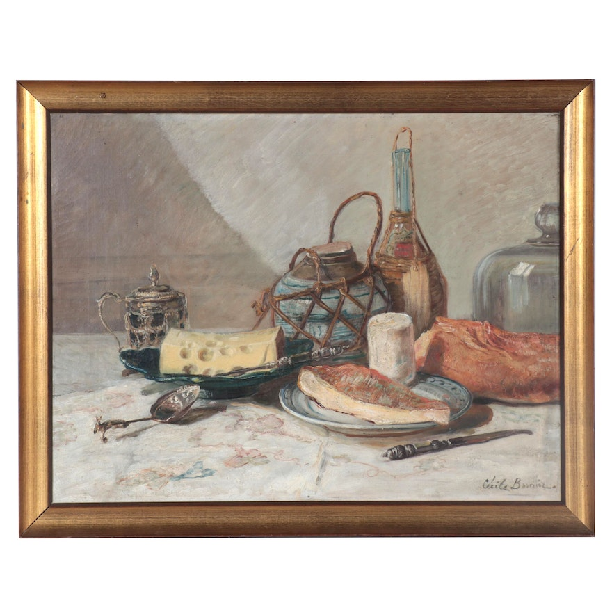 Still Life Oil Painting of Cheese, Early 20th Century
