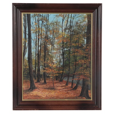 "Sally Millspaugh Acrylic Painting ""Fall Days,"" Late 20th Century"