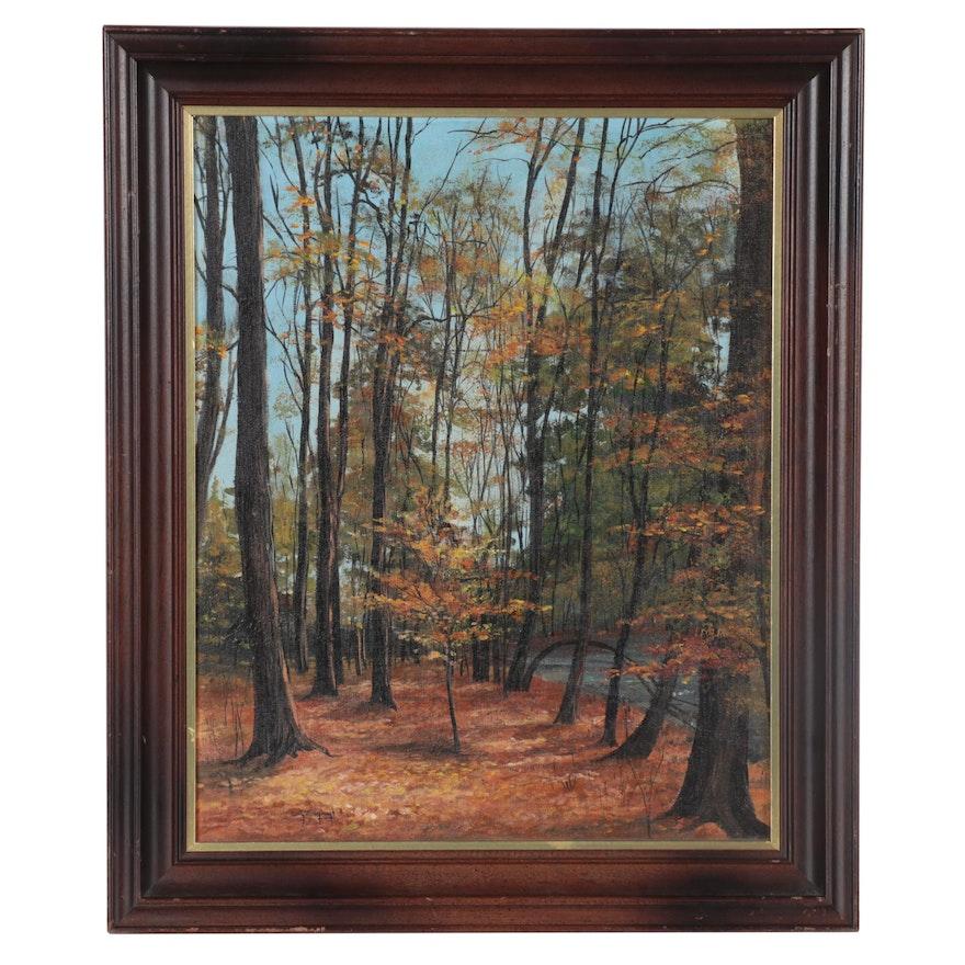 """Sally Millspaugh Acrylic Painting """"Fall Days,"""" Late 20th Century"""