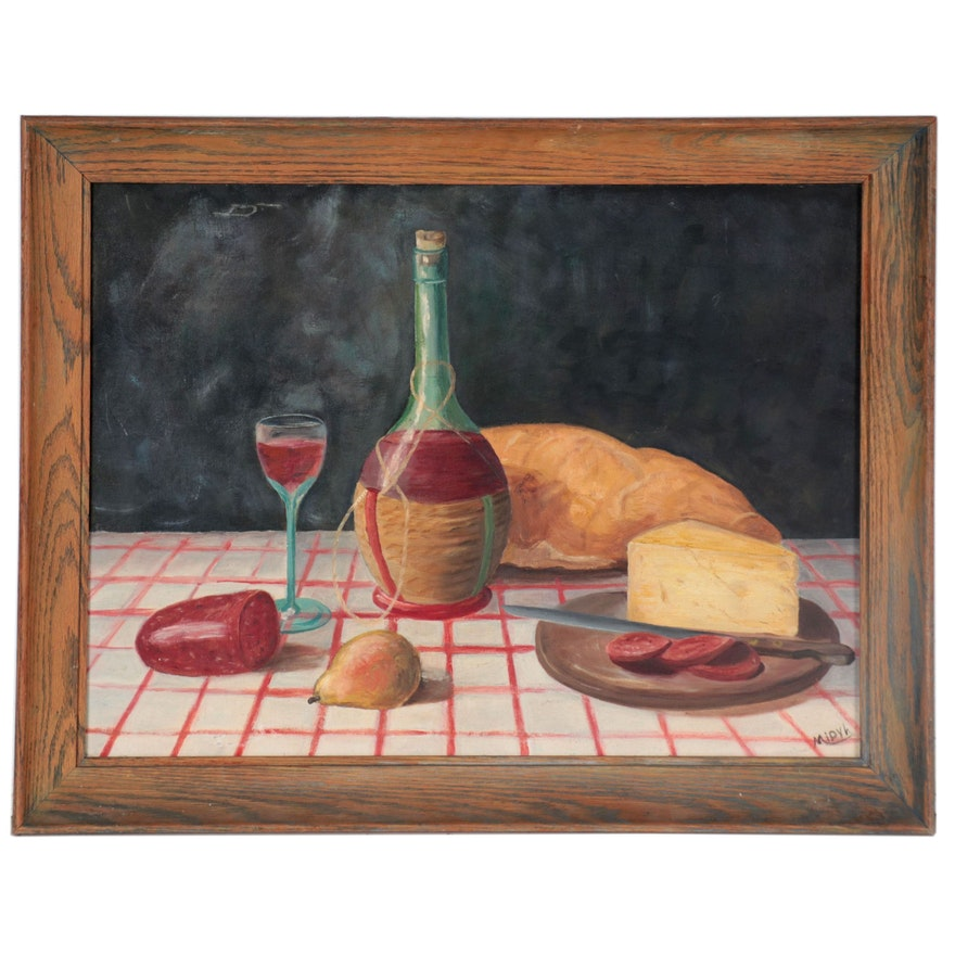 Still Life Oil Painting of Cheese and Wine, Late 20th Century