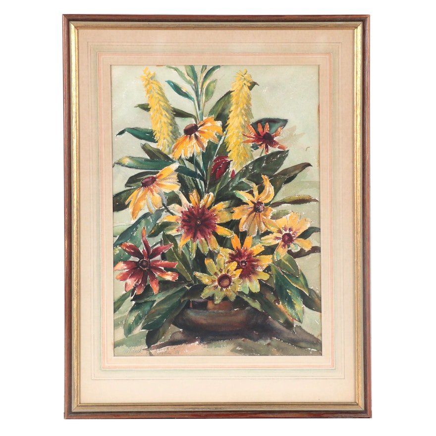 Mildred Landis Still Life Watercolor Painting of Floral Bouquet, 1958