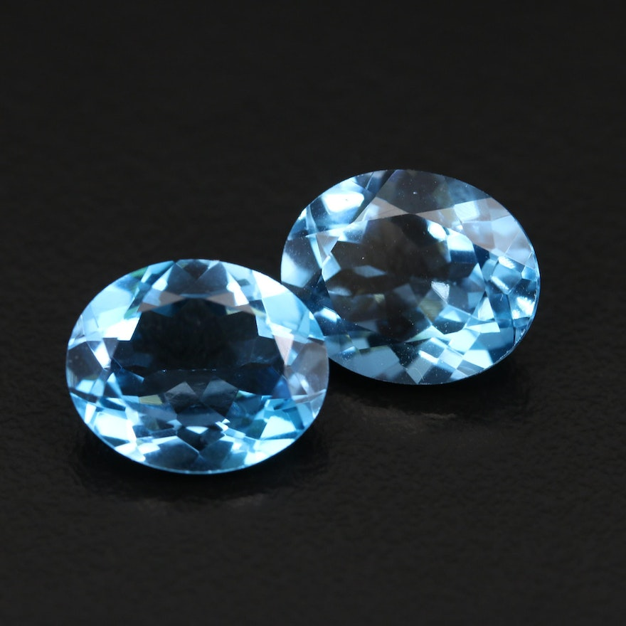 Loose 11.06 CTW Matched Pair Oval Faceted London Blue Topaz