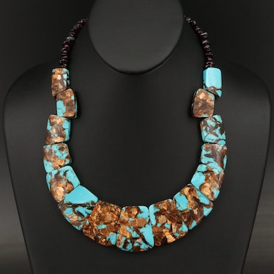 Sterling Garnet and Faux Turquoise Necklace