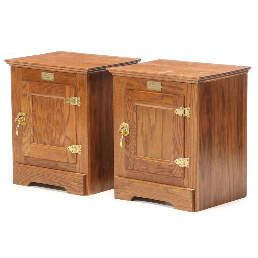 Pair of Belwood Ice Boks Co. Oak and Laminate Side Cabinets, Late 20th Century
