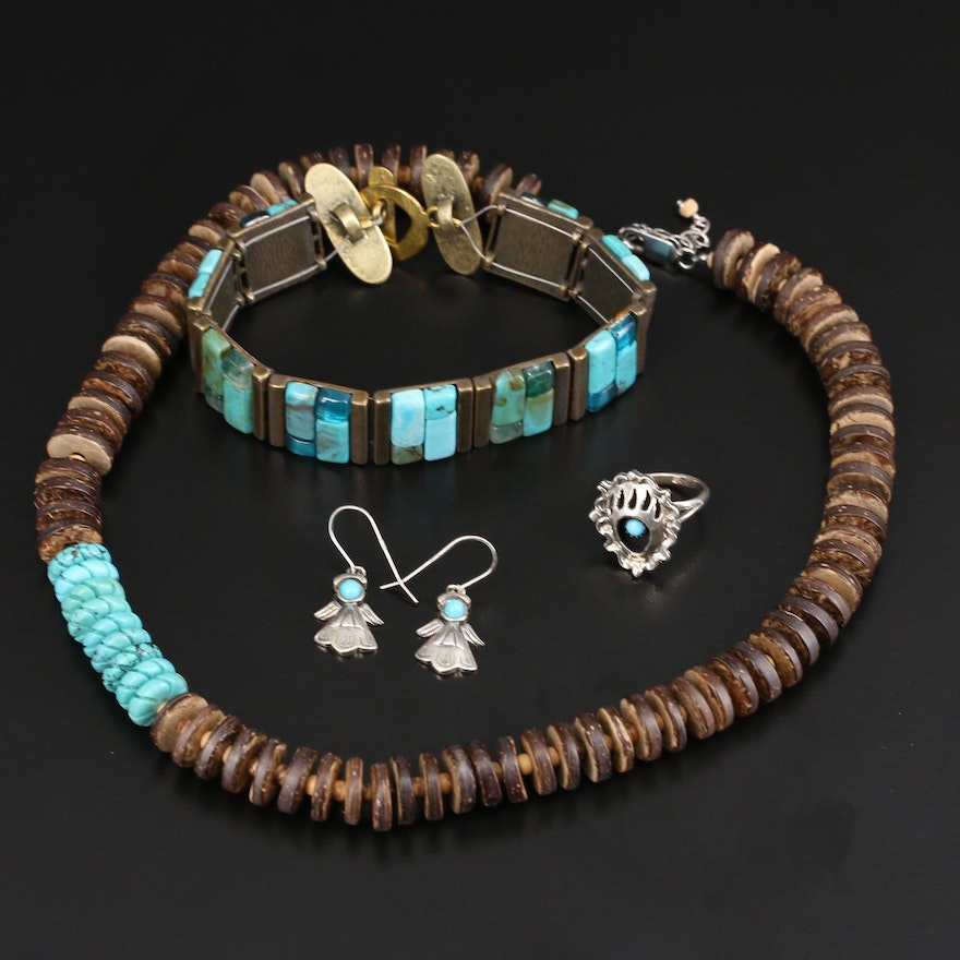 Sterling Jewelry Featuring Bear Paw Ring, Angel Earrings and Turquoise