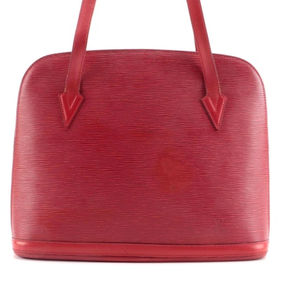 Louis Vuitton Lussac Shoulder Tote in Castilian Red Epi and Smooth Leather