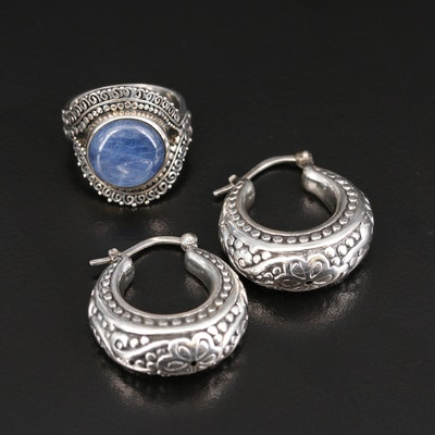 Sajen Sterling Kyanite Ring with Hoop Earrings