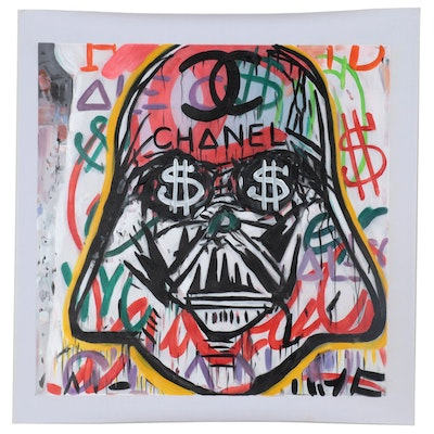 Oil Painting over Giclée after Alec Monopoly of Street Art Darth Vader
