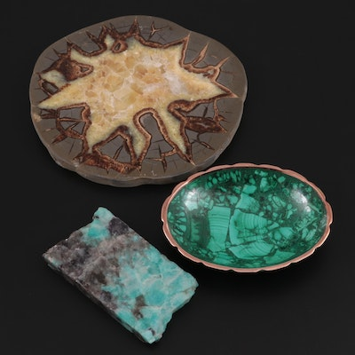 Septarian Nodule Specimen, Amazonite Specimen and Malachite Trinket Dish