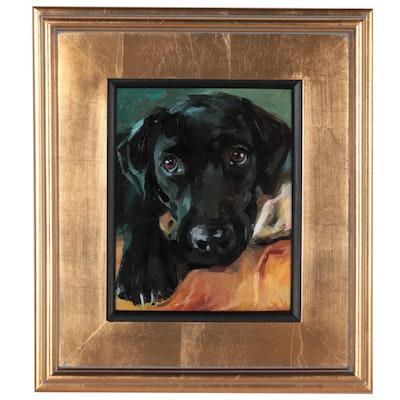 "Adam Deda Oil Painting ""Black Labrador,"" 2021"