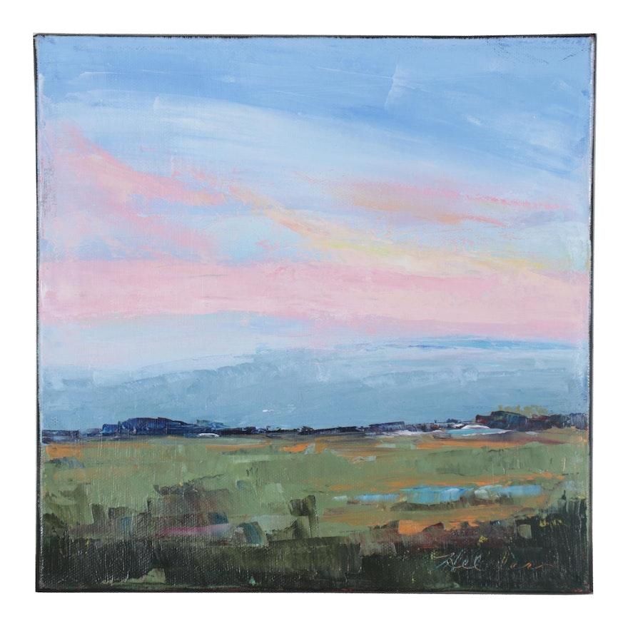 """Michele Helders Landscape Oil Painting """"Farm Pond,"""" 2021"""