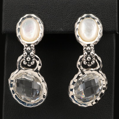 Michael Dawkins Sterling, Quartz and Mother of Pearl Drop Earrings