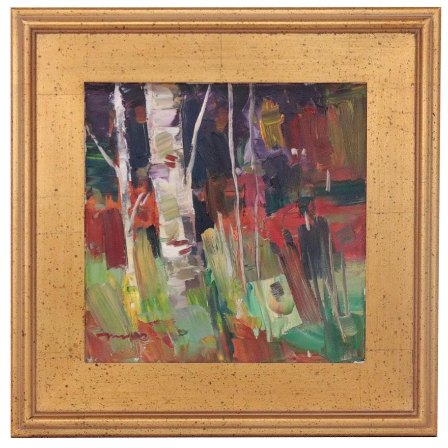 "Jose Trujillo Oil Painting ""Birch Forest,"" 2019"