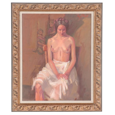 Gregory Price Oil Painting of Seated Female Nude, circa 2000