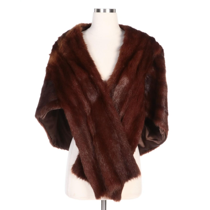 Mahogany Marmot Fur Stole with Sewn-In Collar