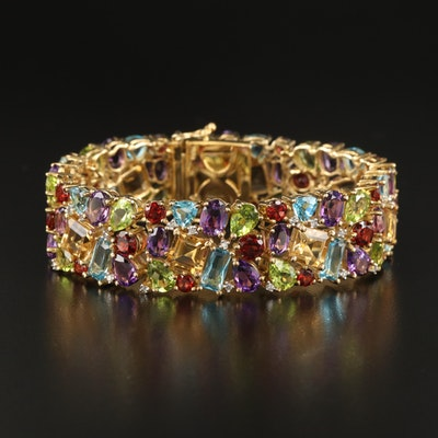 Sterling Cluster Bracelet Featuring Citrine, Amethyst, Peridot and More